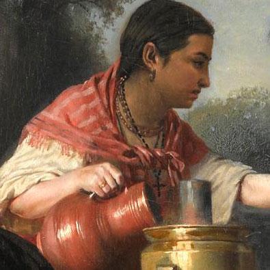 Служанка льёт воду в самовар