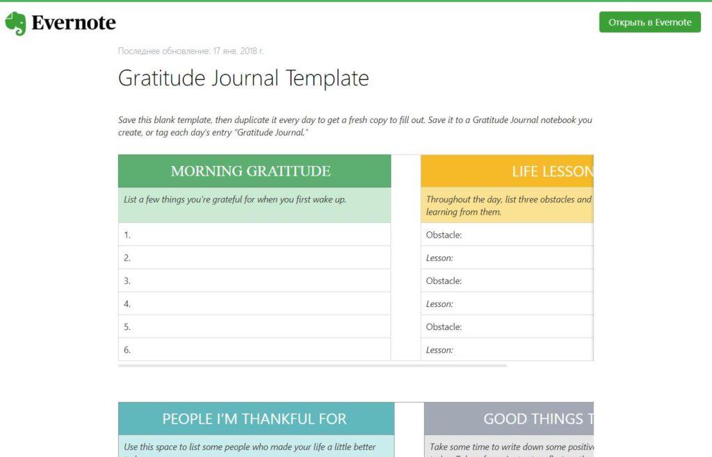 Шаблон «Журнал Благодарностей»
