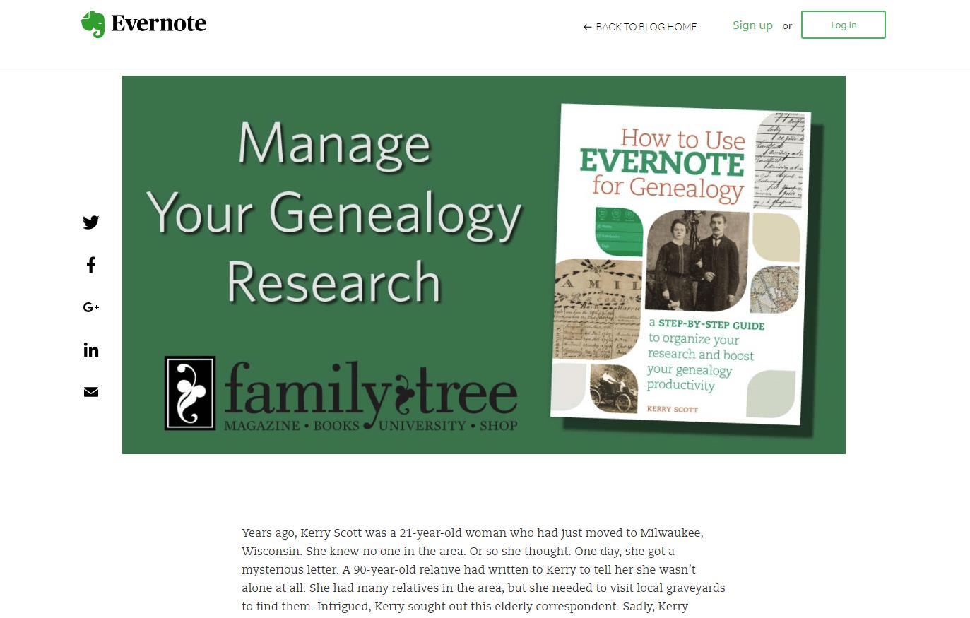 Генеалогия с помощью Evernote