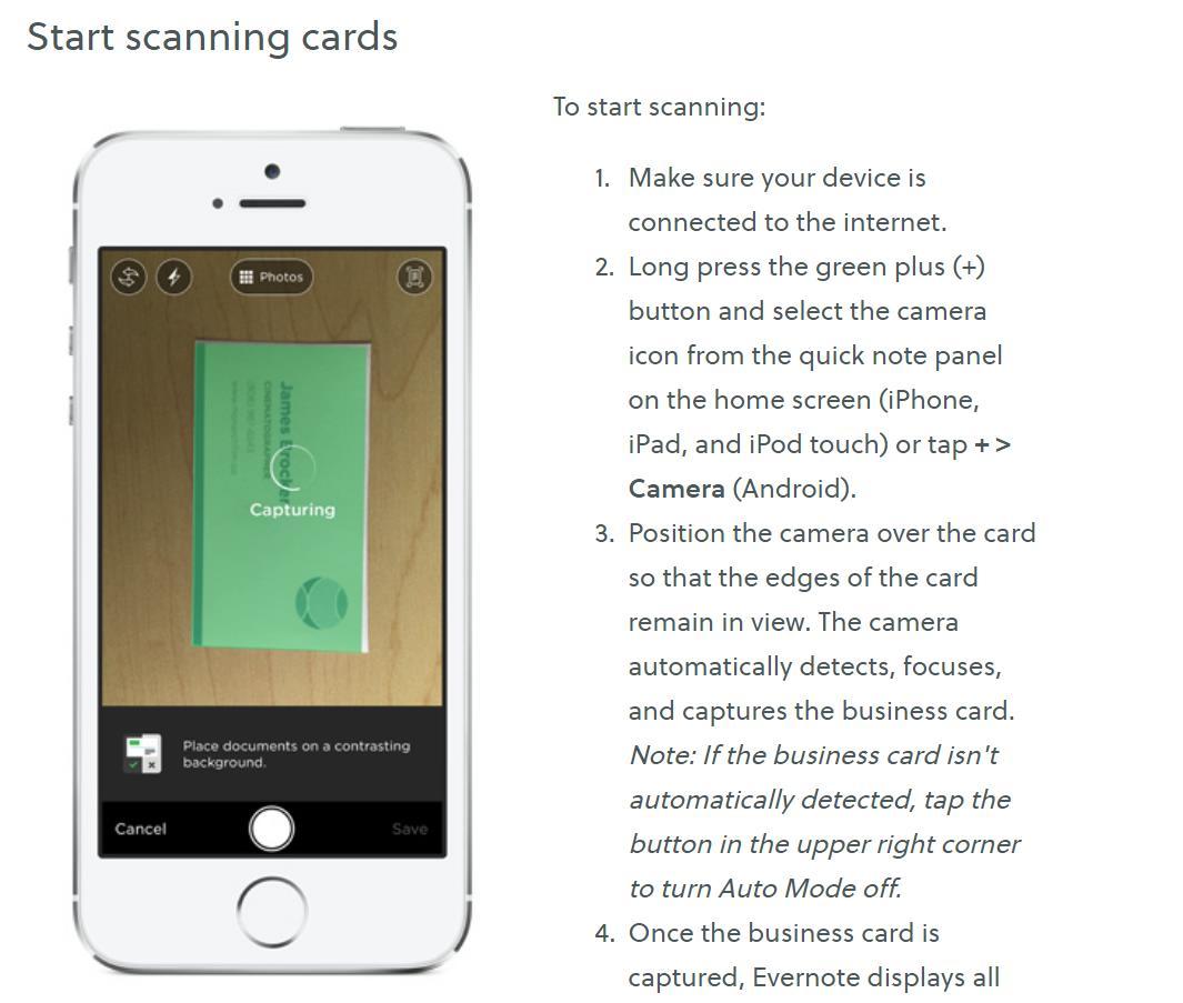 Как использовать телефон для сканирования визиток в Evernote