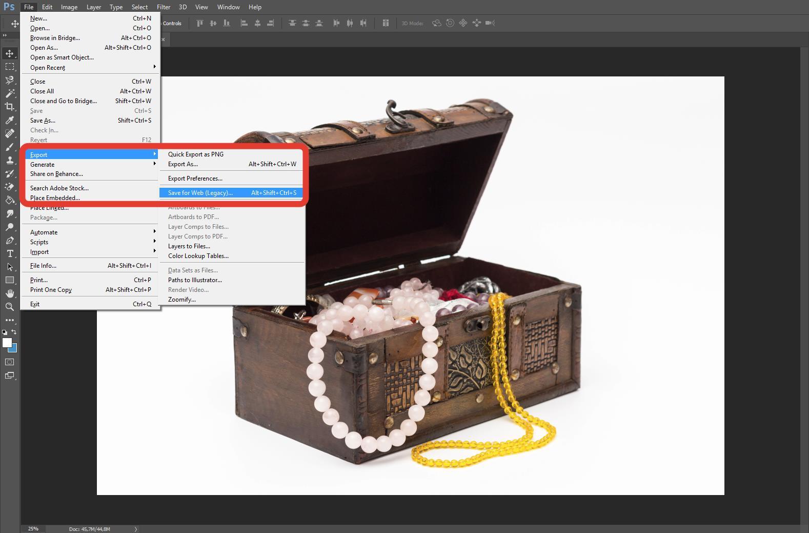 Команда «Сохранить для WEB» в программе Adobe Photoshop